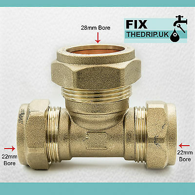FtD BRASS Compression Reducing Tees 22mm x 22mm x 28mm
