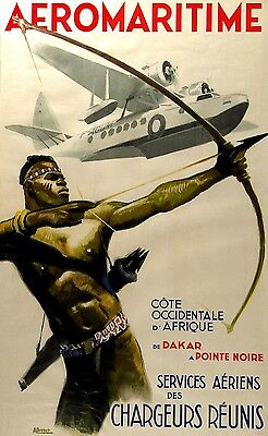Aeromaritime France Africa 1937 - old vintage French travel poster repro