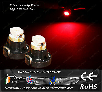 T3 8mm Neo Wedge LED Red Dashboard Cluster Lights Speedo Panel Interior Bulbs