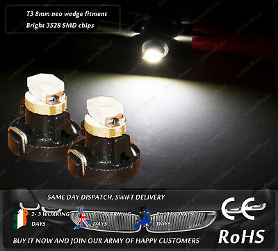 T3 8mm Neo Wedge LED White Dashboard HID Bulbs Cluster Speedo Lights Interior