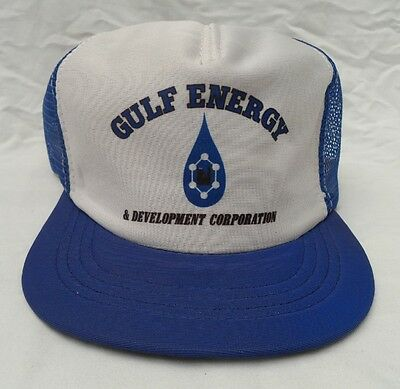 54dd12f1397 Vintage GULF ENERGY SNAP BACK HAT CAP White   Blue Mesh Back Trucker