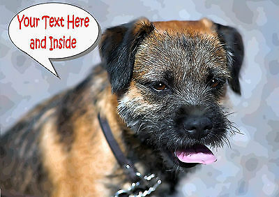 PERSONALISED BORDER TERRIER DOG BIRTHDAY ANY OCCASION CARD Illus Insert