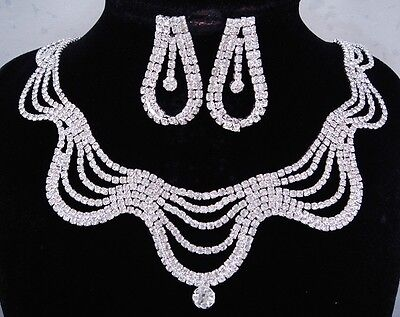 silver necklace set prong in clear crystal 5 row scallop bridal wedding FIOJ