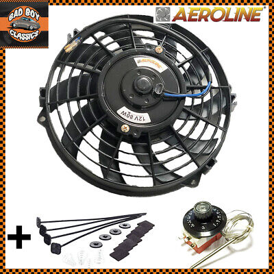 """9"""" AeroLine Electric Radiator 12v Cooling Fan With Thermostat UNIVERSAL"""