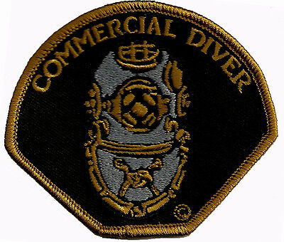 SCUBA DIVING EMBROIDERED PATCH -COMMERCIAL DIVER-Black Background- GEN2197-1