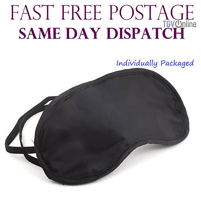 2 X Travel Eye Masks, Sleep Sleeping Cover Rest Eyepatch Blindfold (Black) New