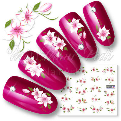 Nail Art Stickers, Water Nail Decals, Transfers Tropical Flowers Pink White G065