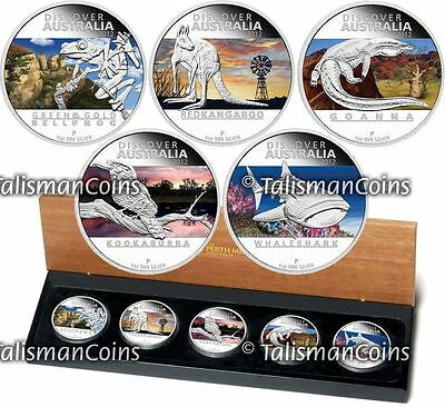 Perth 2012 Discover Australian Wildlife Complete 5 Coin $1 Pure Silver Proof Set
