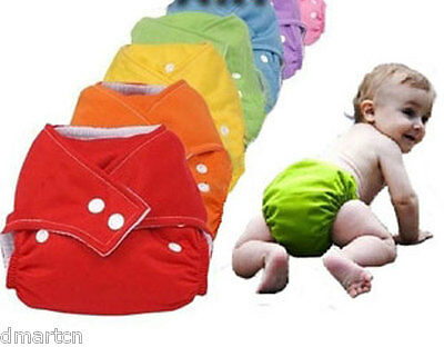 10 x Reusable Modern Cloth Nappies +10 Thin Inserts - 7 Colours to Choose