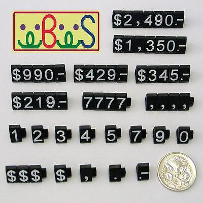 3x White Letter On Black Plastic Price Display Set 340 Cubes/Set Tag Label PCUBK