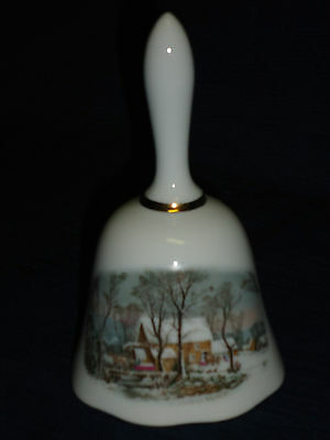 Vintage 1978 AVON Old Mill in Winter BELL Currier & Ives