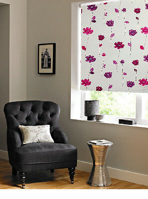 Floral Trail Pink Purple Blackout Thermal Easy Fit Roller Blind Free Shipping