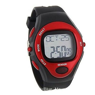 Unisex Digital Silicone Sports Watch Heart Rate Pulse Sensor Red