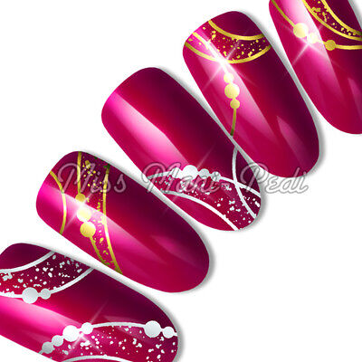 Nail Art Water Slide Transfers Stickers Decals Metallic Silver/Gold Pattern T333