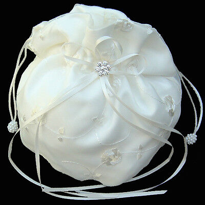 IVORY Satin Wedding Purse Tote Make-up Gift Hand Bag