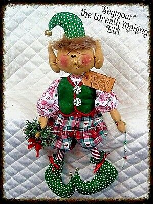 "~Primitive Raggedy Christmas Elf 19"" ""Seymour the Wreath Maker"" ELF~PATTERN #321"