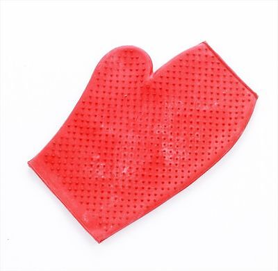 Lincoln Rubber Grooming Mitt - Horse & Pony Care - Red
