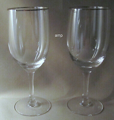 Fostoria Invitation Platinum Trim LOT OF 2 WATER GOBLETS PERFECT!