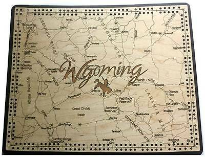 Wyoming State Shape Road Map Cribbage Board