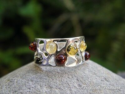 Baltic Amber & 925 SOLID Silver RING (Size 7, N 1/2)    #155258
