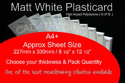 A4+ Plasticard Matt White Styrene Plastic Sheet choice 0.25 - 4mm