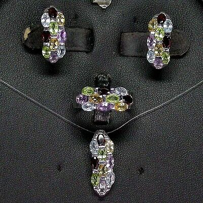 Silver 925 Three Row Gemstone Ring, Earring & Pendant Set Size Q (US 8.25)