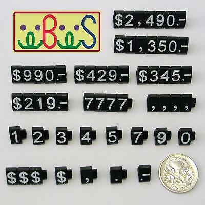 1x White Letter On Black Plastic Price Display Set 340 Cubes/Set Tag Label PCUBK