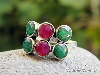 Emerald & Ruby 925 SOLID Silver Ring (Size 6 1/2, M 1/2)     #150966