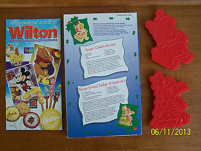 2 New! Wilton Disney Winnie Pooh Piglet Christmas Cookie Cutters 3D Red Plastic