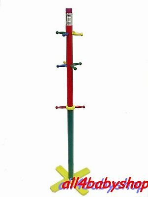 Children Kids Wooden Coat Stand Pencil Style Cloth Hanger Free Standing