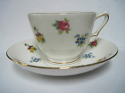 Crown Staffordshire Bone China Teacup and Saucer