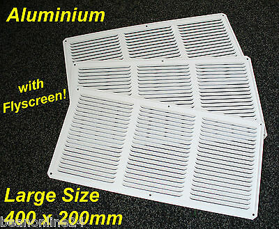 3 Pack Aluminium Air Vent 400 x 200mm White with Flyscreen - eave ventilation
