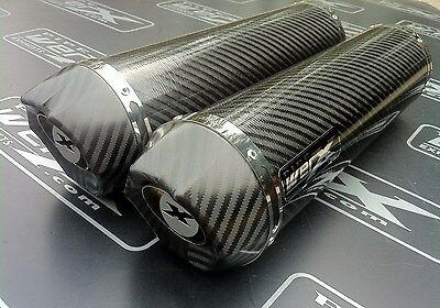 Yamaha XT660 X R Pair of Carbon Round, Carbon Outlet, Exhausts Cans Silencers