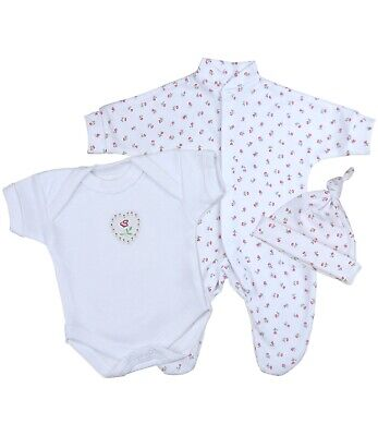 BabyPrem Premature Preemie 3 Piece Baby Girls Clothes - Sleepsuit Vest & Hat Set