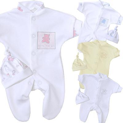BabyPrem Tiny Premature Baby Clothes Boys Girls Sleepsuit & Hat Set 1.lb - 3.5lb