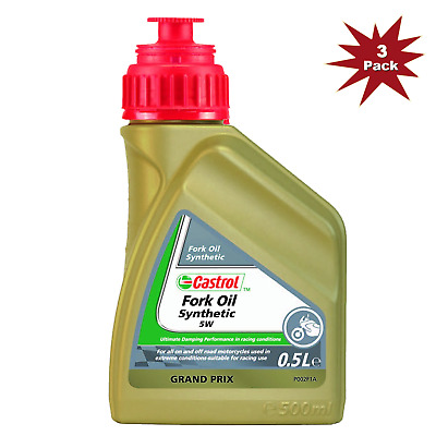 Castrol 5w Fork Oil Fully Synthetic Motorcycles, Bikes - 3x500ml = 1.5 Litre