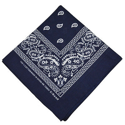 "100% Cotton Paisley Bandanas Double Sided ""Navy Blue"" Handkerchief Headscarf"