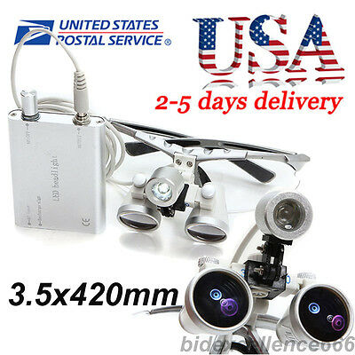 USA-Dental Surgical Medical Binocular Loupes 3.5X 420mm + LED Head Light Lamp