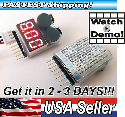 1-8s RC Lipo Battery Voltage Tester with LOW VOLTAGE Buzzer Alarm 2 in 1!
