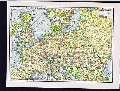 Century-Old 1904 COLOR MAP - Central Europe