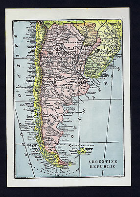 ARGENTINE REPUBLIC  - Vintage 1925 Color Lithograph Worldwide Map