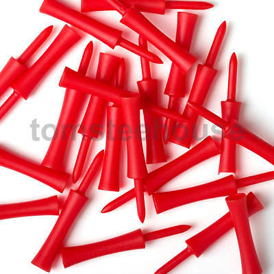 100 RED PLASTIC STEP GOLF TEES LARGE (76 mm) + Free Golf Ball Markers