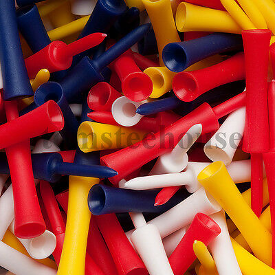 50 PLASTIC STEP GOLF TEES LARGE MIXED COLOURS (76 mm) + Free Golf Ball Markers