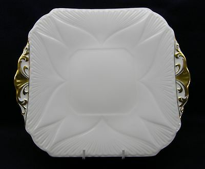 SHELLEY - CAKE PLATE - WHITE WITH GOLD TRIM - BEAUTIFUL!!!!!