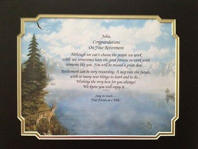 Retirement Gift for Coworker, Employee, Friend, Family Personalized Poem Matted
