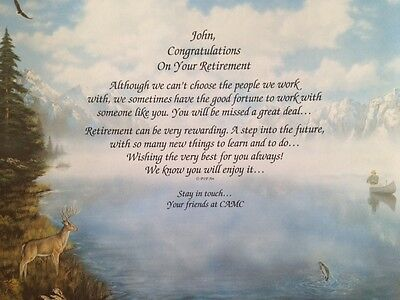 Retirement Gift for Coworker, Employee, Friend, Family Personalized Poem on Art