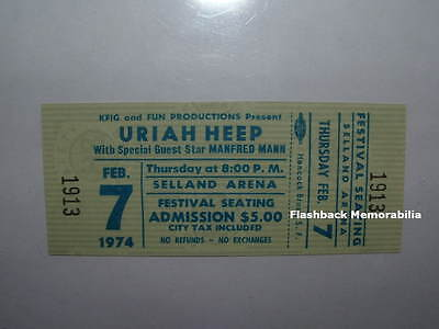 URIAH HEEP / MANFRED MANN Unused MINT 1974 Concert Ticket FRESNO SELLAND Rare
