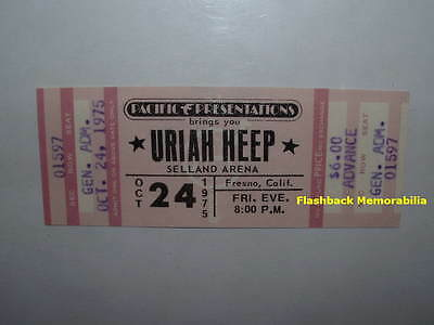 URIAH HEEP Unused MINT 1975 Concert Ticket FRESNO SELLAND ARENA Very Rare