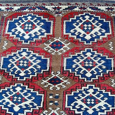 Bergama Teppich 179x128cm blau rot Natur-Wolle Antique turkish rug tapis tappeto