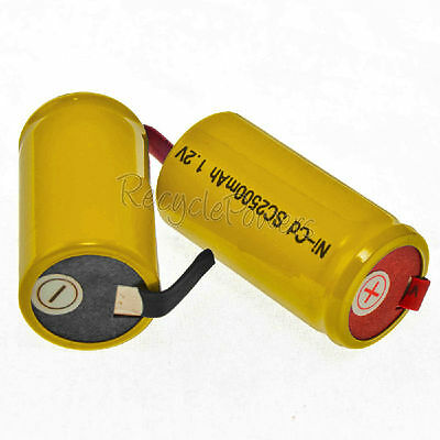 8 Sub C SubC Solder Tab NiCd 1.2v 2500mAh Rechargeable Battery Yellow